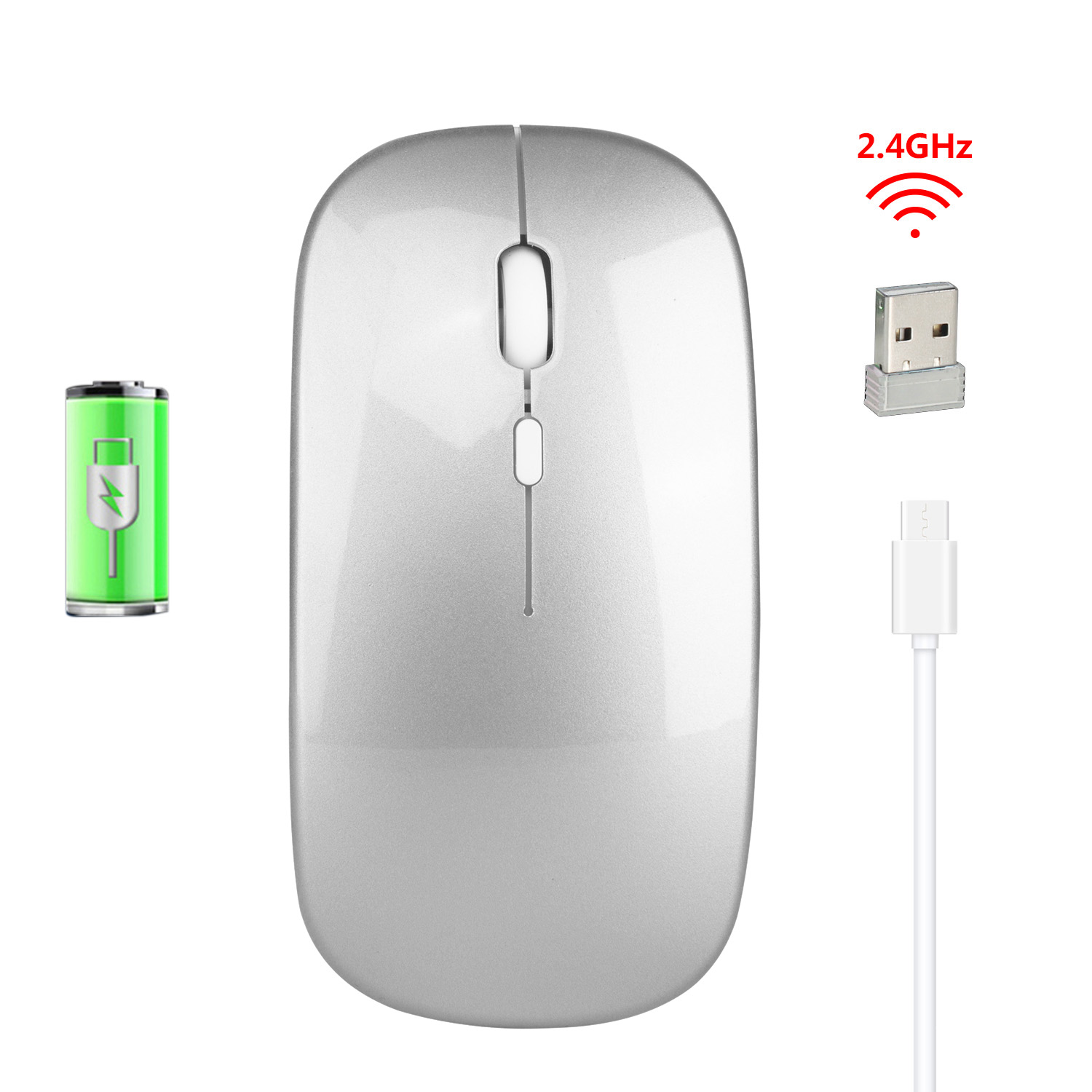 M80 2.4G Wireless Rechargeable Charging Mouse Ultra-Thin Silent Office Notebook Opto-electronic Mouse Silver