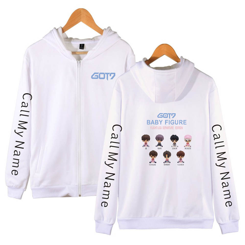 Zippered Casual Hoodie with Cartoon GOT7 Pattern Printed Leisure Top Cardigan for Man and Woman White B_XL