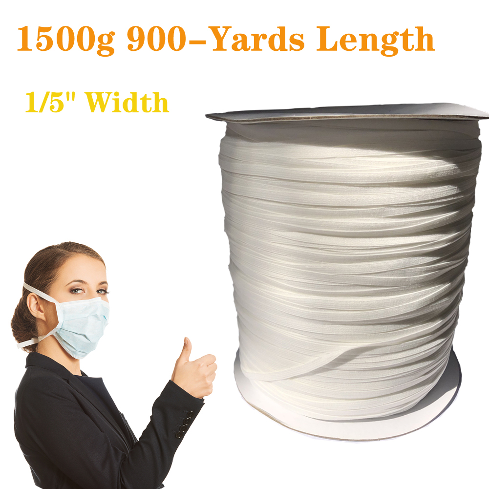 Elastic Cord Sewing Elastic Bands Wide Braided Elastic Rope Spool Elastic String 5mm 1500G 960 yards