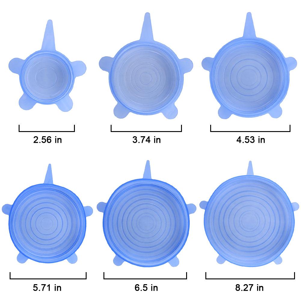 [EU Direct] 6Pcs Kitchen ReusableSilicone Stretch Seal Lid Preservation Vacuum Food Storage Bowl Cover