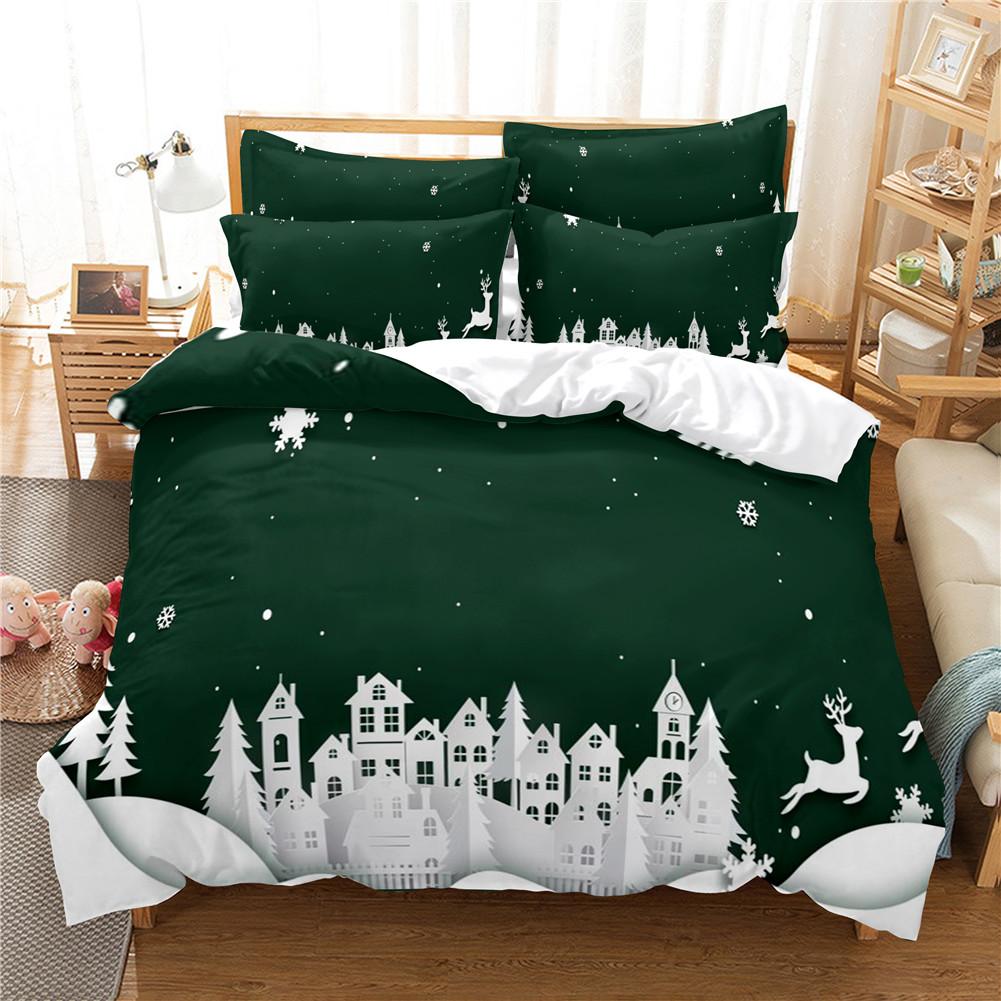 2Pcs/3Pcs Full/Queen/King Quilt Cover +Pillowcase 3D Digital Printing Christmas Series Beeding Set Twin