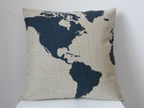 [EU Direct] Zehui Square Throw Pillow Case Decorative Fashion Cushion Cover Pillowcase Captain Blue Map