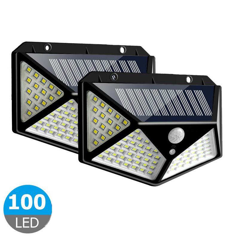 100LEDs Solar Wall Light Lamp 3 Modes Four-Sided Illumination Motion Sensor Street Night Lighting black_1PC