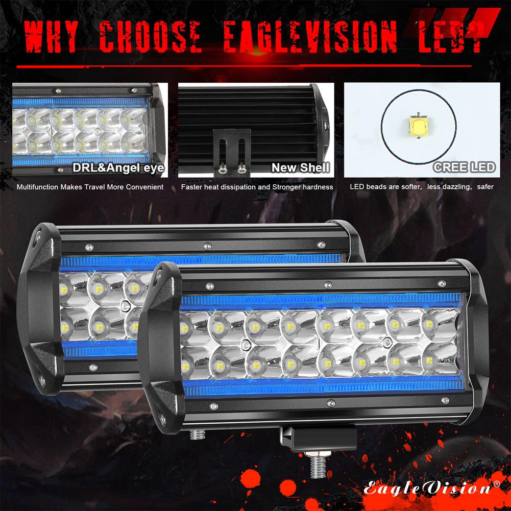 2PCS 7Inch LED Light Bar Marker Lights 240W 24000LM 3000K+6000K Led Driving Lights Fog Lights Ice blue + white light