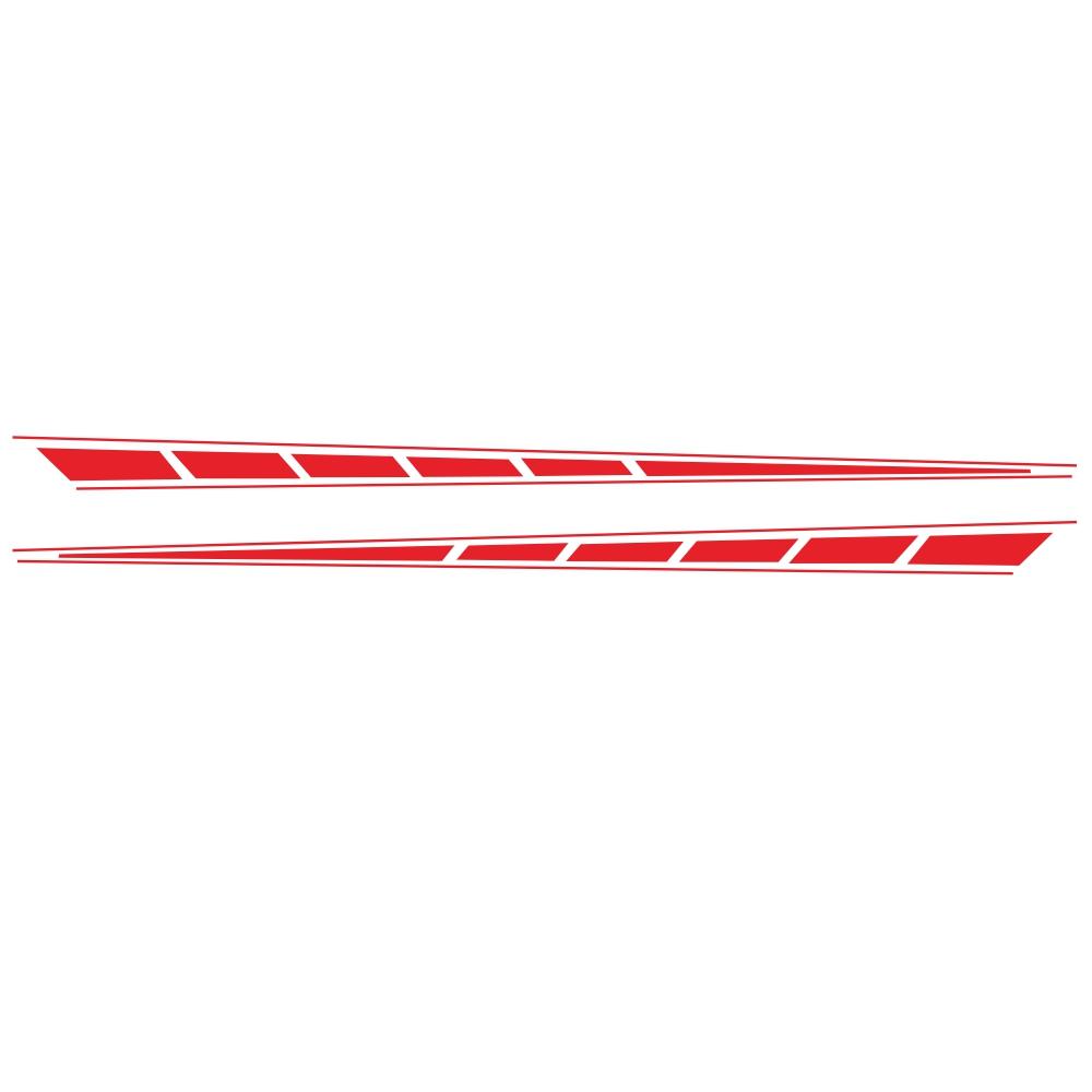 2Pcs Auto Car Side Body Long Stripe Sport Vinyl Decals Decoration Racing Sticker red