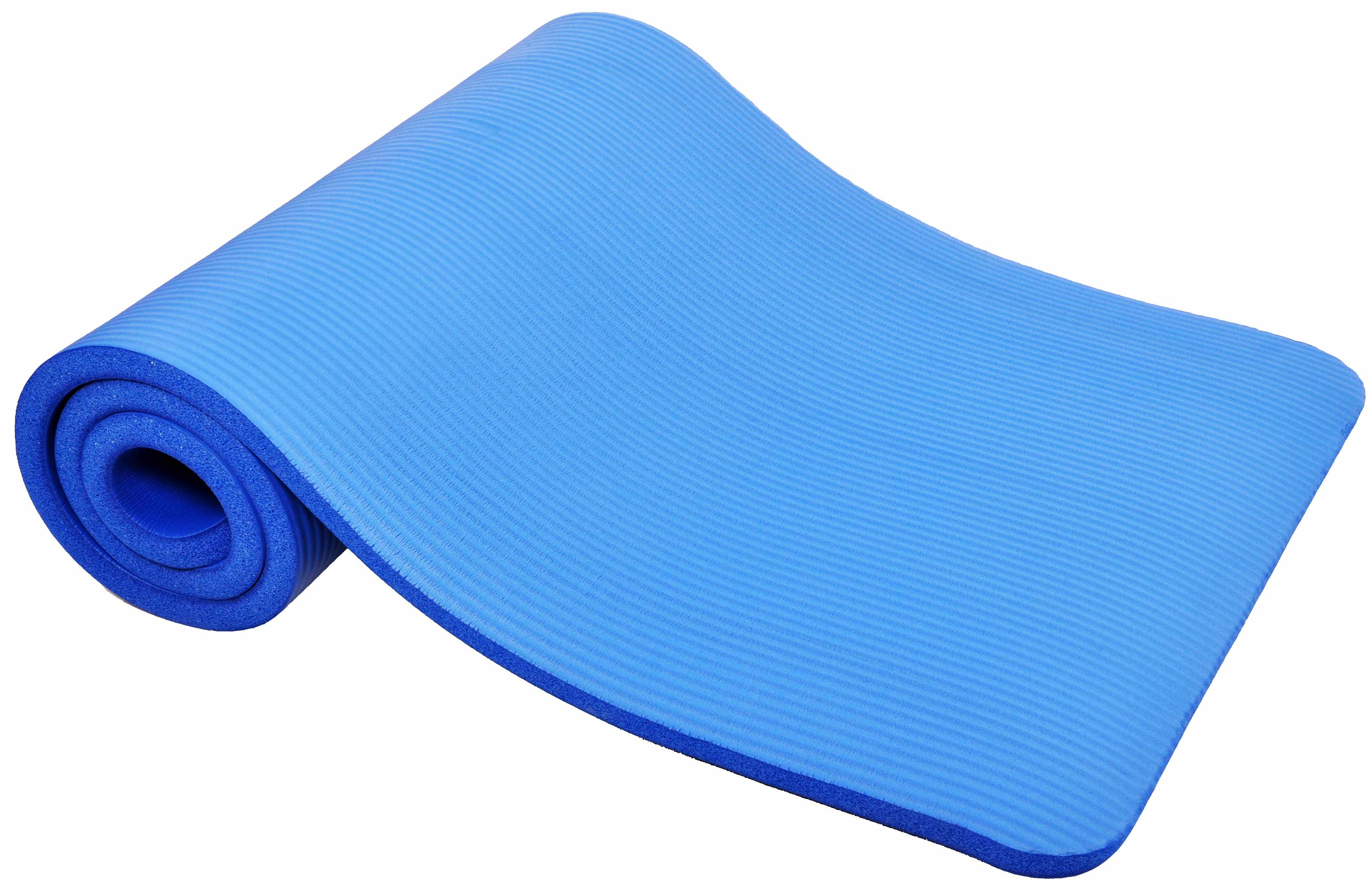 [US Direct] Original BalanceFrom GoCloud All-Purpose 1-Inch Extra Thick High Density Anti-Tear Exercise Yoga Mat with Carrying Strap, Black Blue