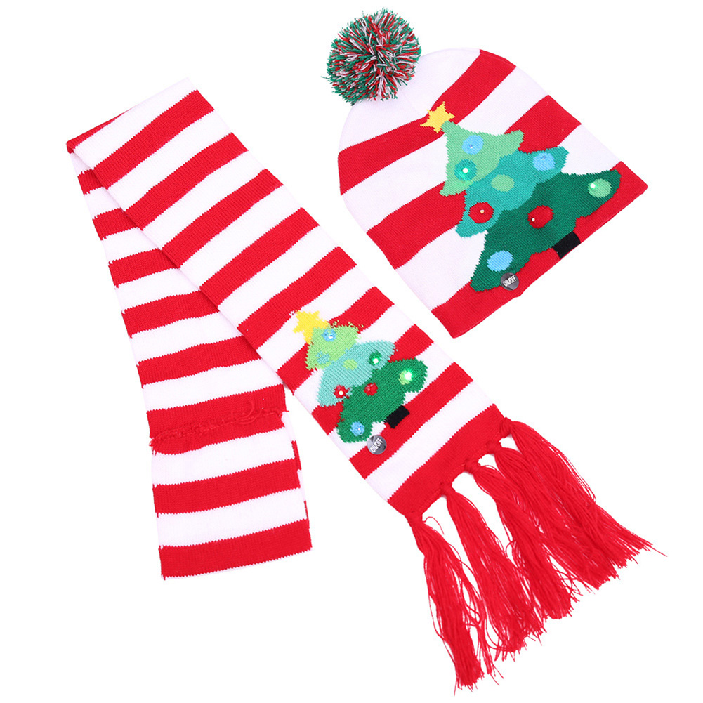 Unisex Christmas Halloween LED Lights Knitted Hat and Scarf Set Fashion Wear Christmas tree _One size