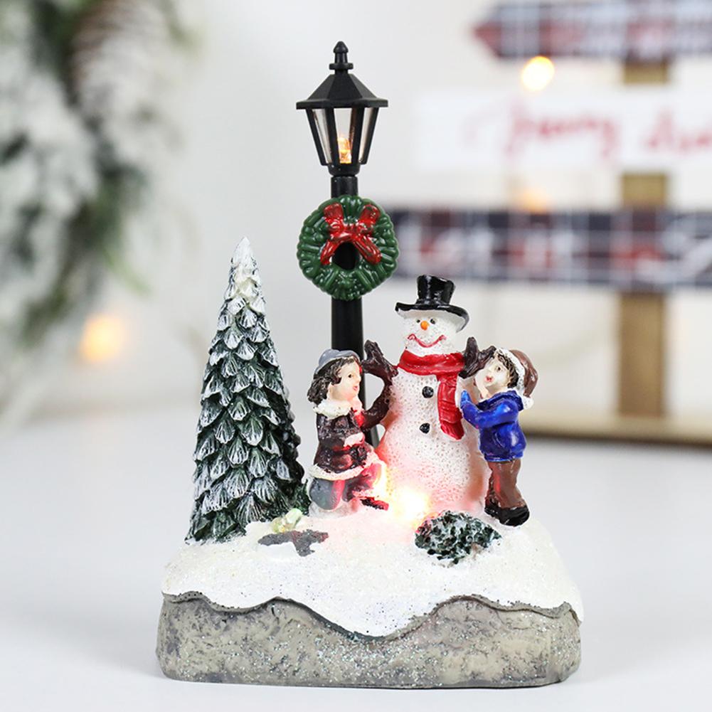 Resin Decorative  Ornament Christmas Decorations Small House Micro-landscape Snowman street light