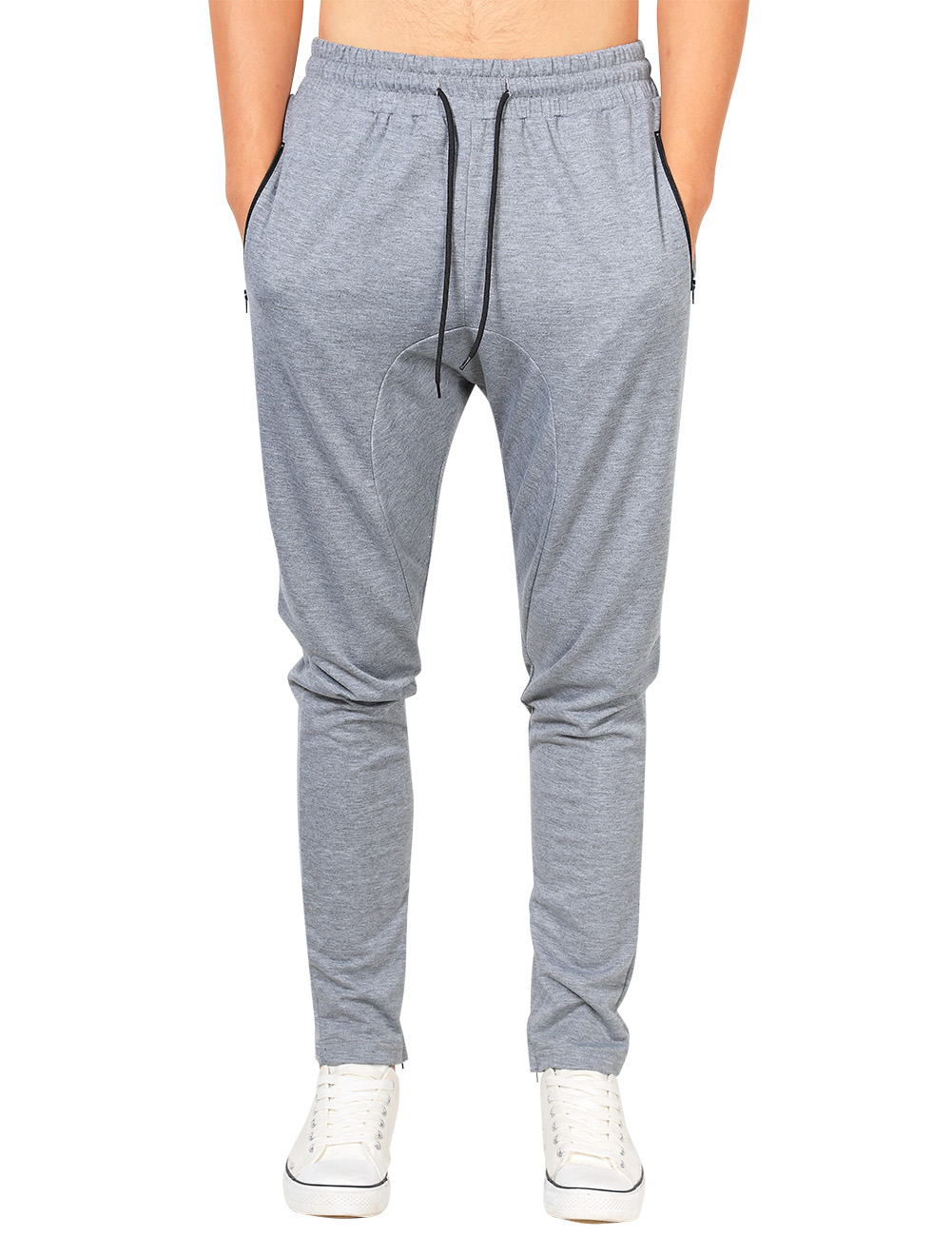 Yong Horse Men's Casual Jogger Pants Fitness Workout Gym Running Sweatpants Light Grey_M