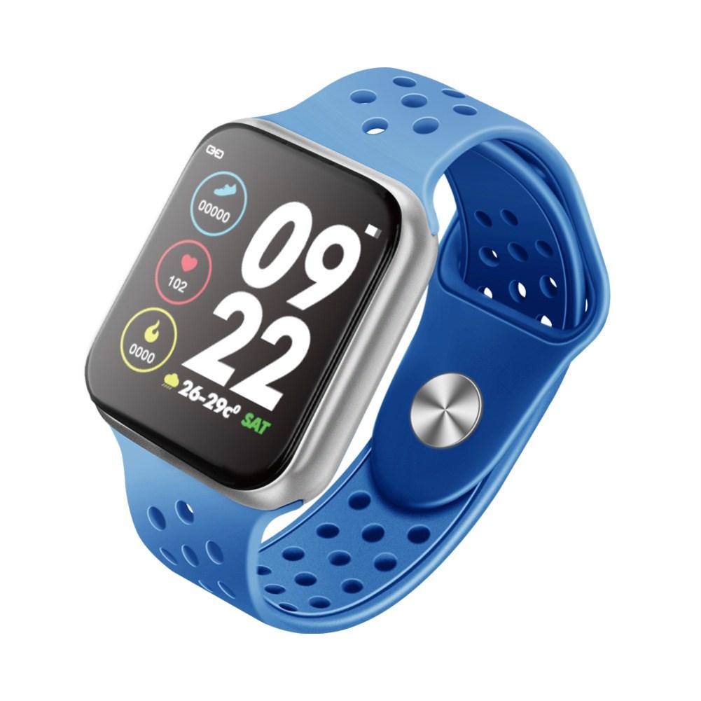 F9 Smart Bracelet Full Color Screen Touch Smartwatch Multiple Motion Patterns Heart Rate Blood Pressure Sleep Monitor  Silver shell blue belt