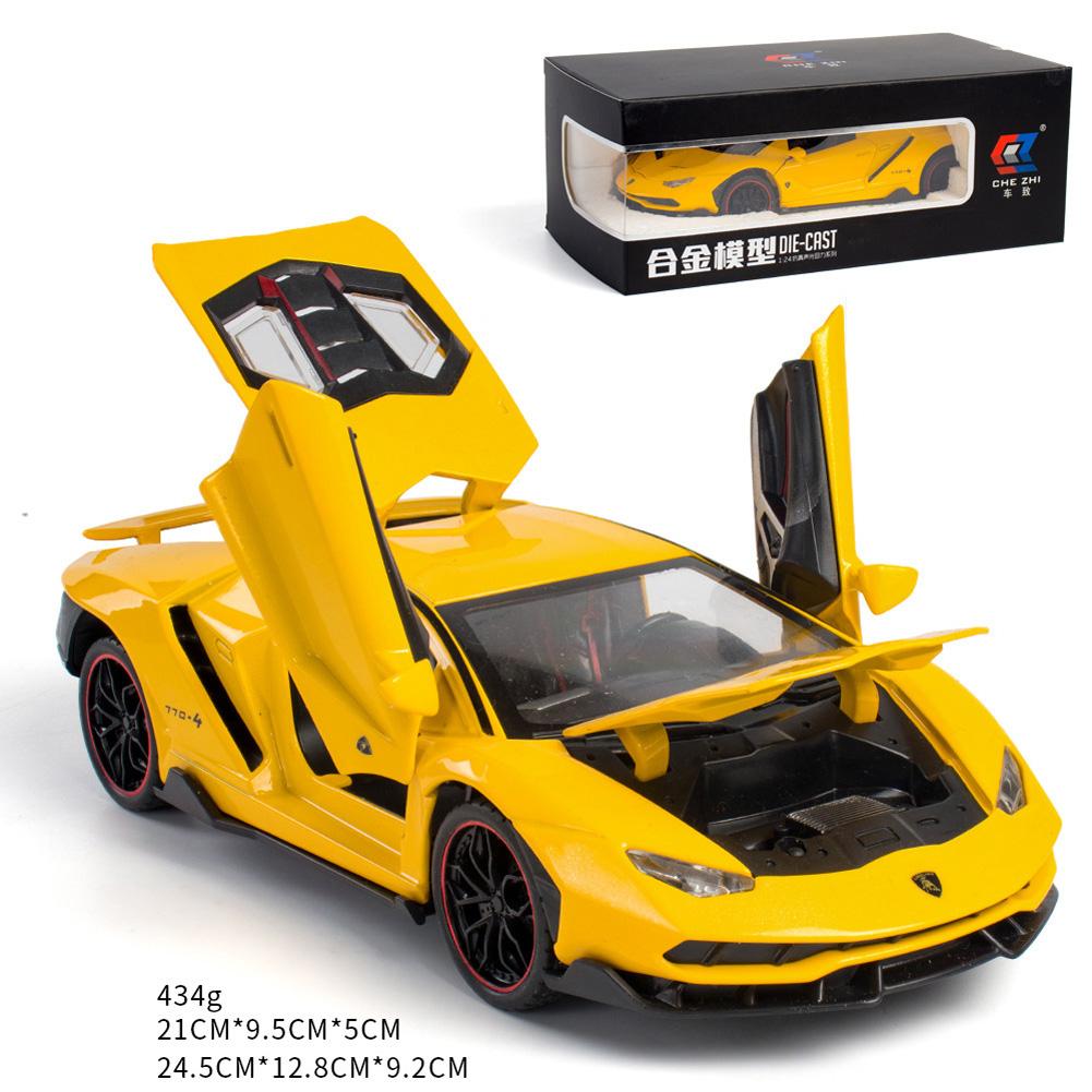 Simulate 1:24 Alloy Sports Car Model Toy for Lamborghini LP770 yellow