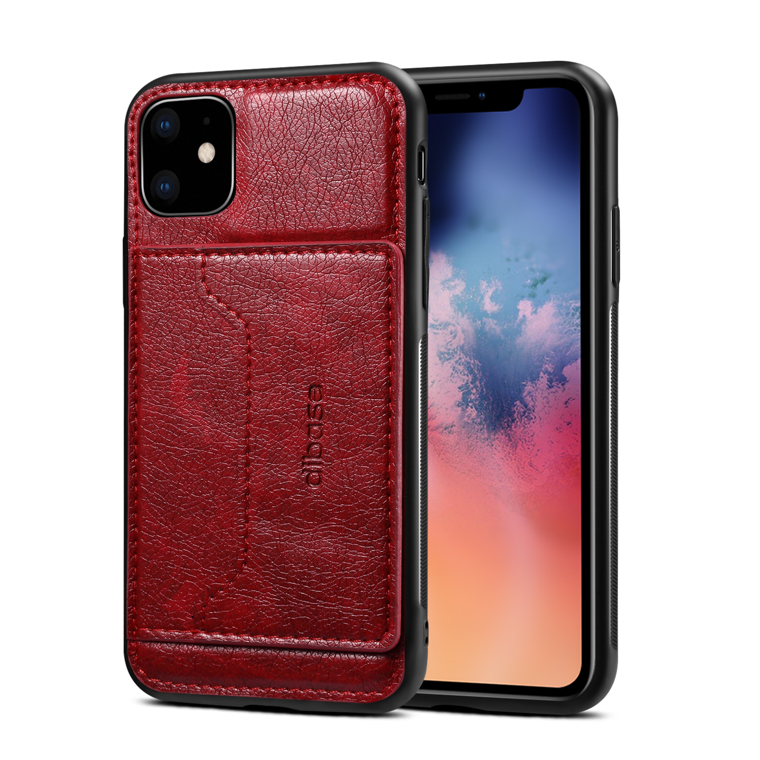 For iPhone 11/11 Pro/11 Pro Max Cellphone Smart Shell 2-in-1 Textured PU Leather Shock-Absorption Anti-Fall Card Holder Stand Function Phone Cover red