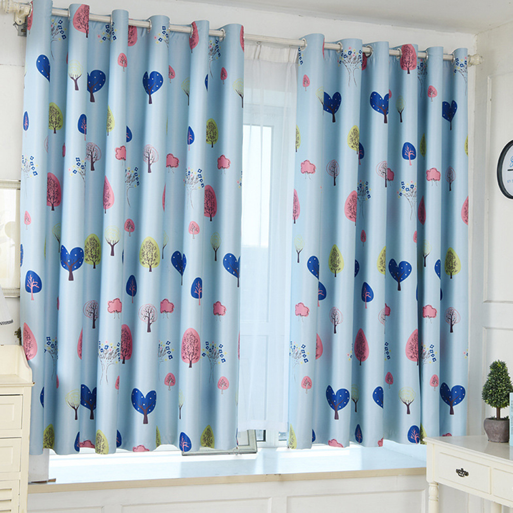 1PC Loving Heart Tree Printing Window Curtain for Shading Punching Style blue_W 100cm* H 200cm