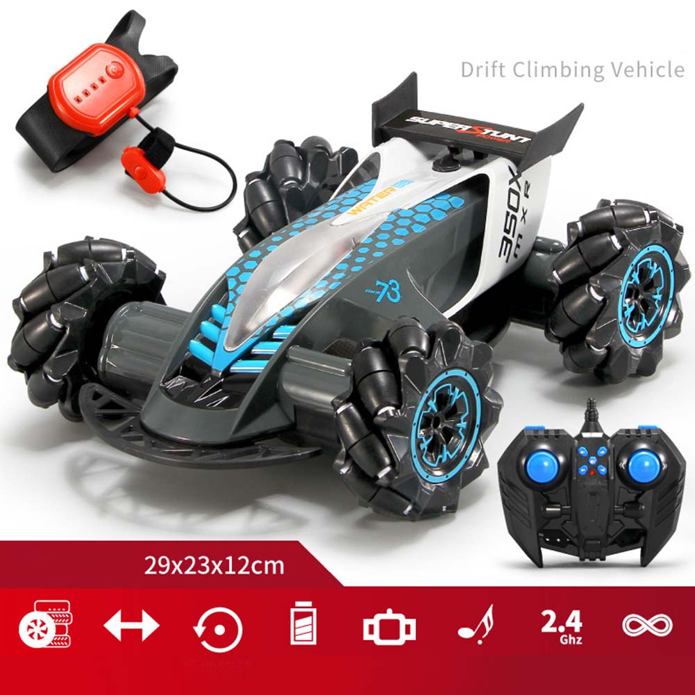 1:14 2.4G RC Stunt Car Gesture Sensing Spray Drift Car 4WD 8CH High Speed with Light Music Play Time 20 Minutes Grey_1:14