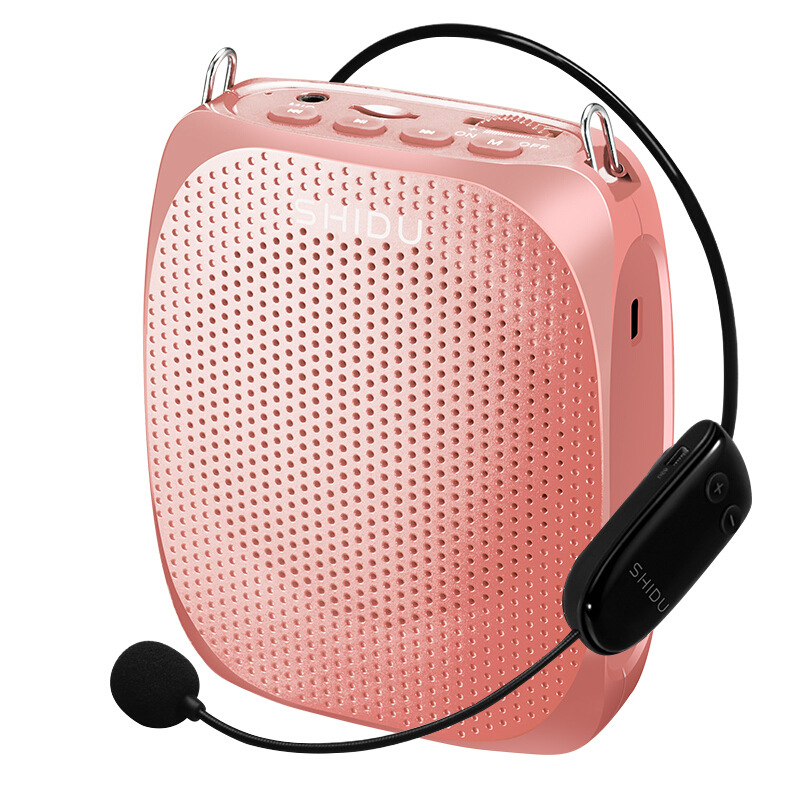 Portable Megaphone Wireless Microphone Loudspeaker Teacher Voice Amplifier Rose gold