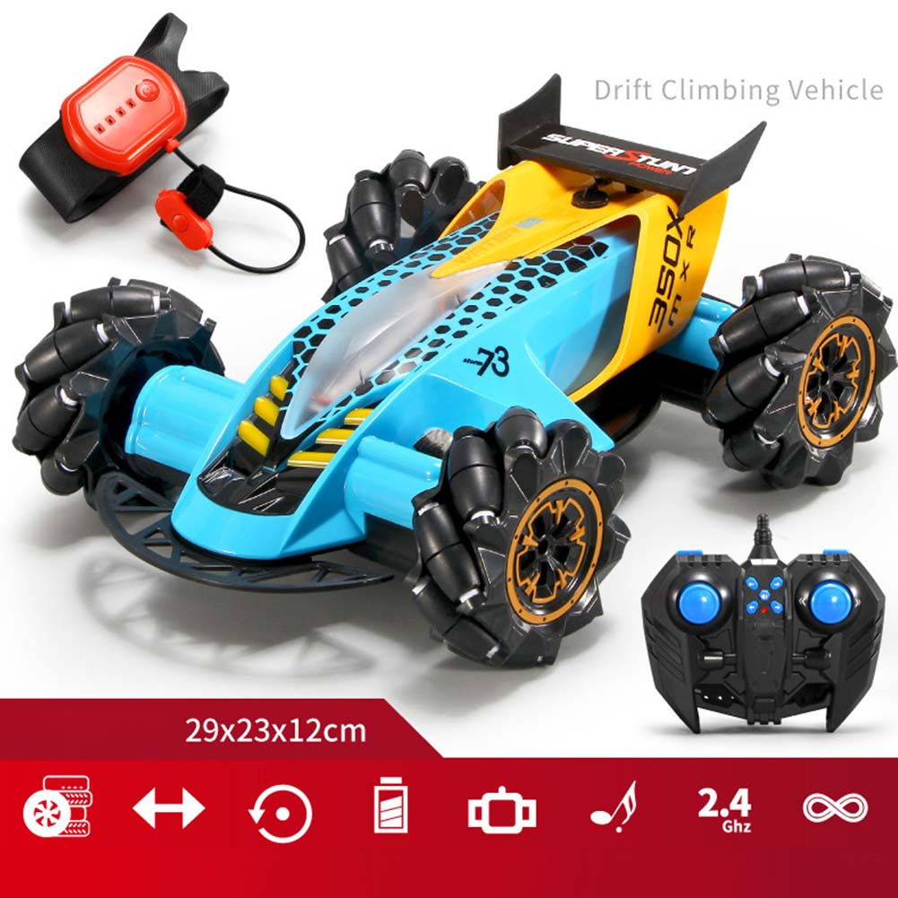 1:14 2.4G RC Stunt Car Gesture Sensing Spray Drift Car 4WD 8CH High Speed with Light Music Play Time 20 Minutes blue_1:14