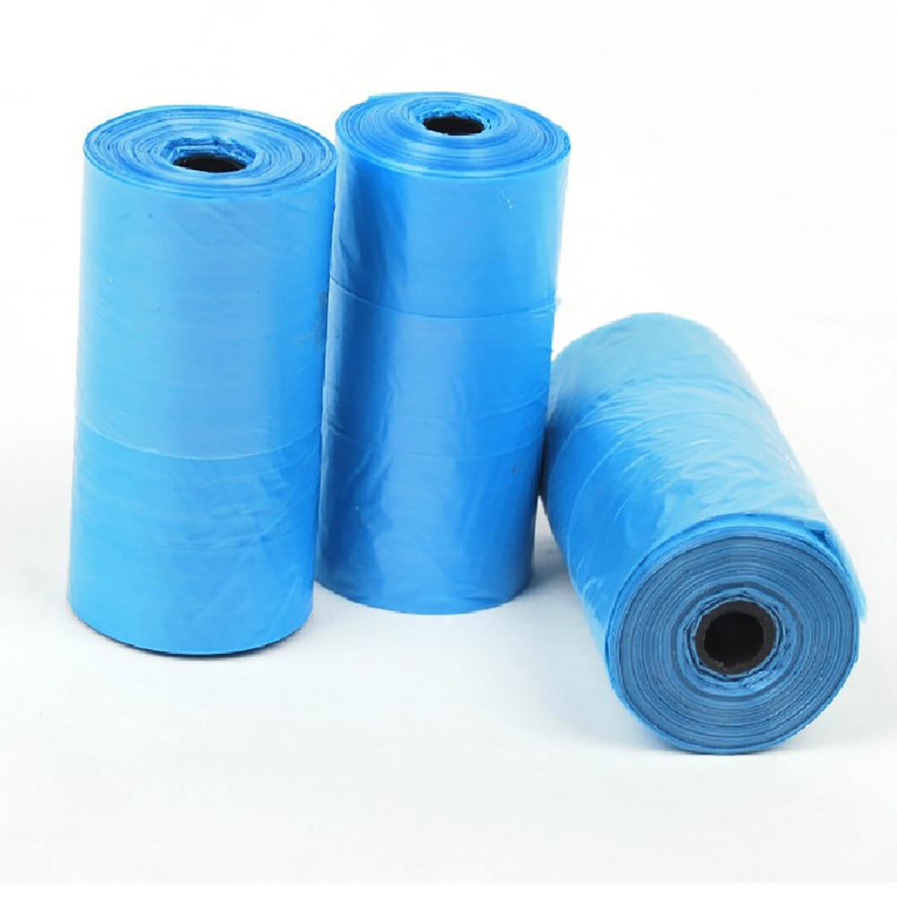 20Pcs/roll Pet Dog Cat Poop Waste Pick Up Clean Bag for Outdoor Use L_Blue