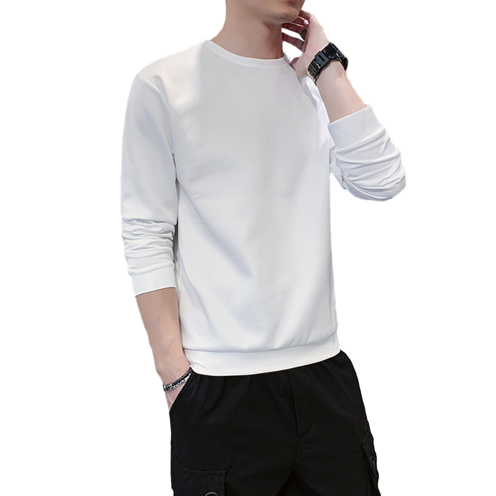 Men's Sweatshirt Round Neck Long-sleeved Solid Color Bottoming Shirt white_XXL