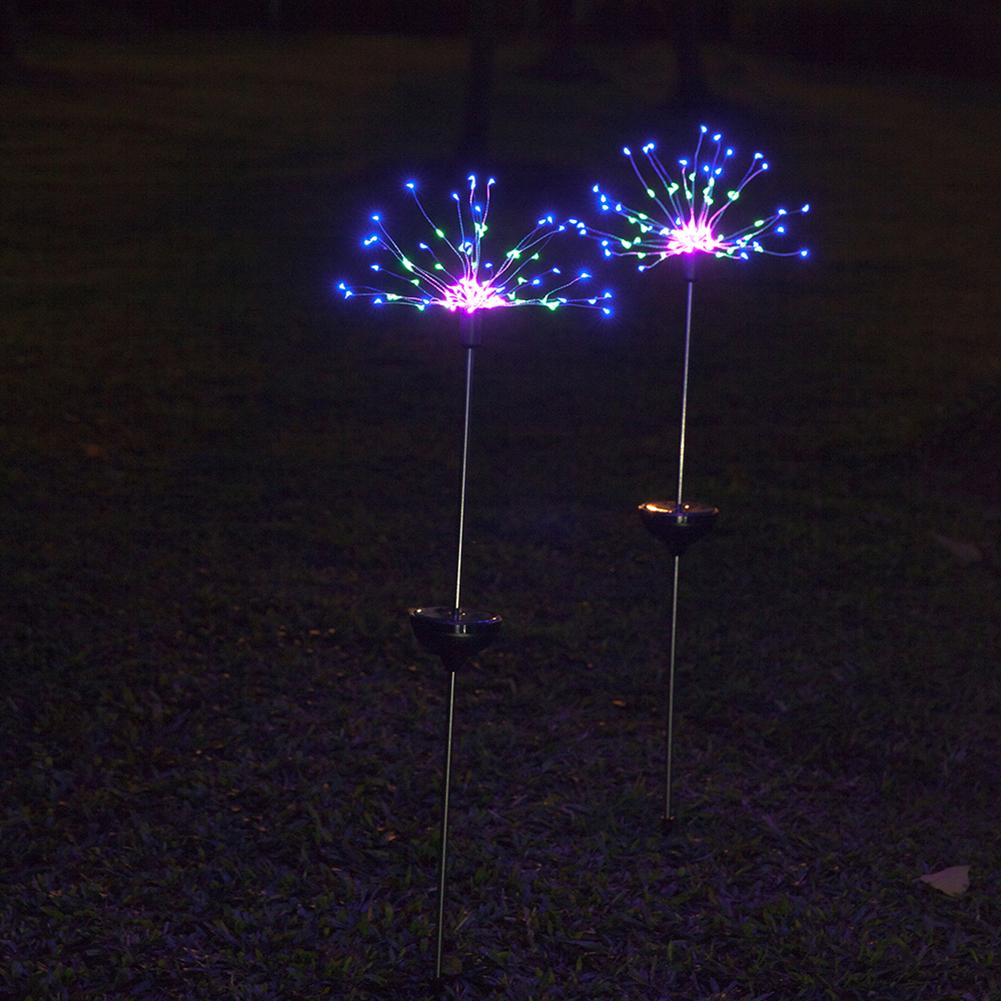 2Pcs 120LEDs Solar Powered Fireworks String Light Oudoor Decoration Color light