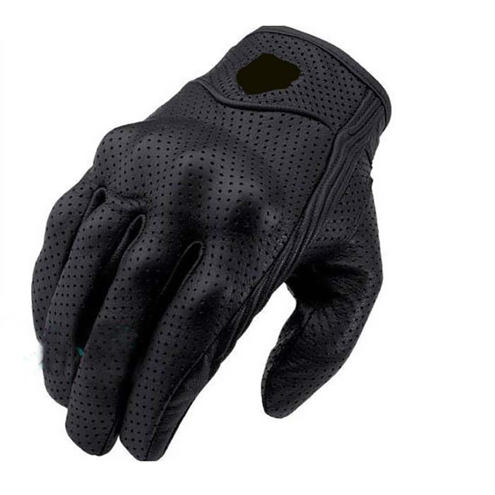 1 Pair Black Leather Gloves Riding Bike Motorcycle Protective Armor Mesh Solid Racing Gloves L_Have holes