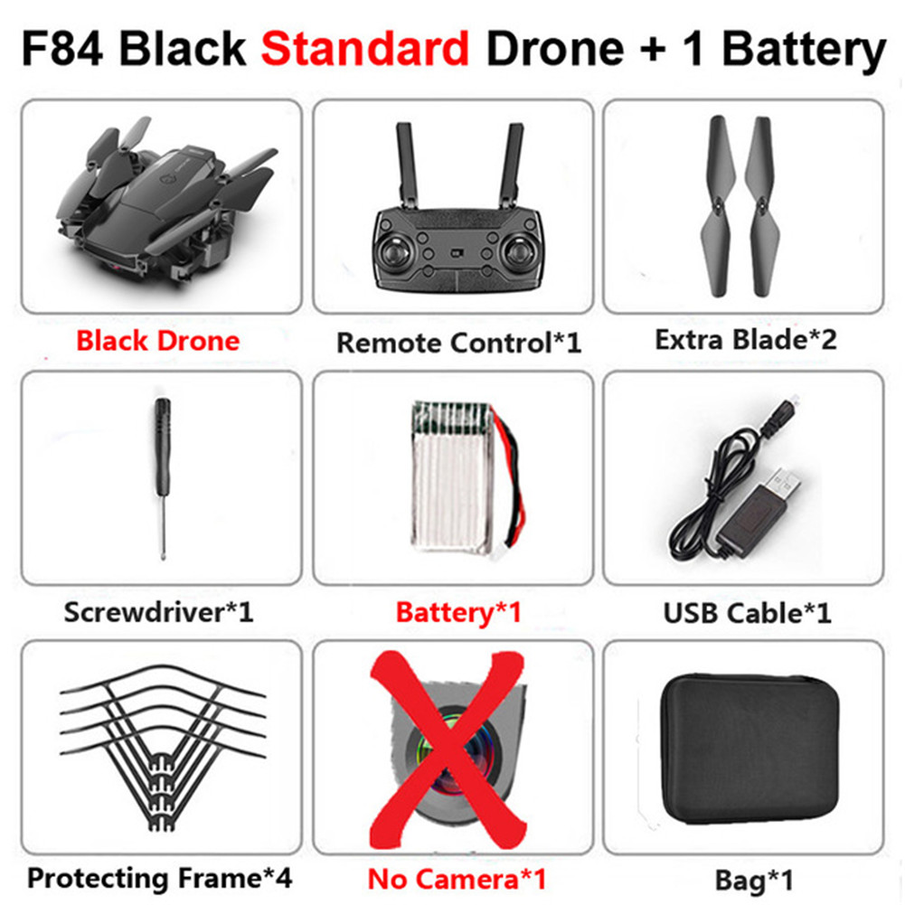 F84 Quadcopter Wireless RC Drone With 4K/5MP/0.3MP HD Camera WiFi FPV Helicopter Foldable Airplane For Children Gift Toy black_No camera 1B