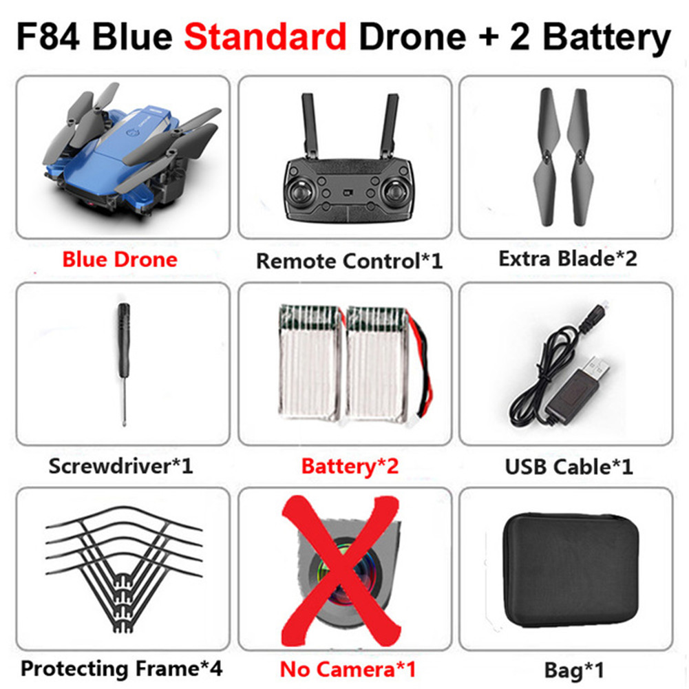 F84 Quadcopter Wireless RC Drone With 4K/5MP/0.3MP HD Camera WiFi FPV Helicopter Foldable Airplane For Children Gift Toy blue_No camera 2B