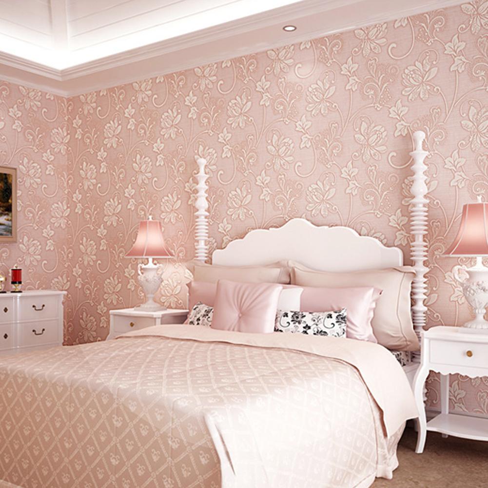 10M 3D Flower Pattern Wallpaper for Bedroom Living Room Decor light pink