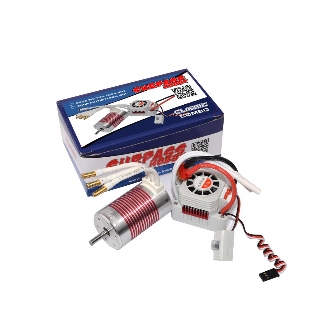 SURPASS HOBBY Platinum Set 3660 3300KV/3800kv Brushless Motor with 60A ESC Waterproof for 1/10 RC Car Truck