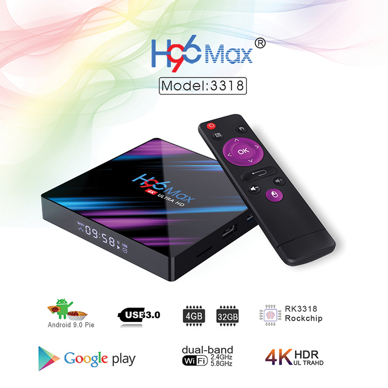 H96 max 3318 Quad-Core 4+64G Android 9.0 HD Smart Network Media Player TV Box EU plug