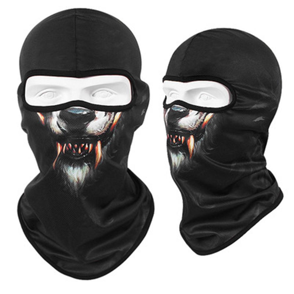 Animal Print Full Face Mask Quick-drying Breathable Single-hole  Headgear Werewolf_Single-hole  Headgear