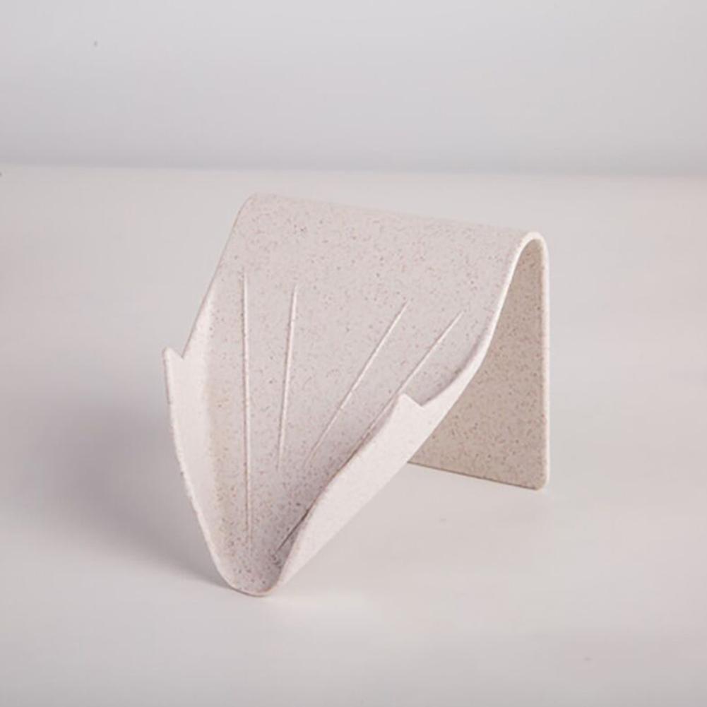 Seamless Paste Wall Hanging Soap Box Bathroom Drain Soap Holder  beige