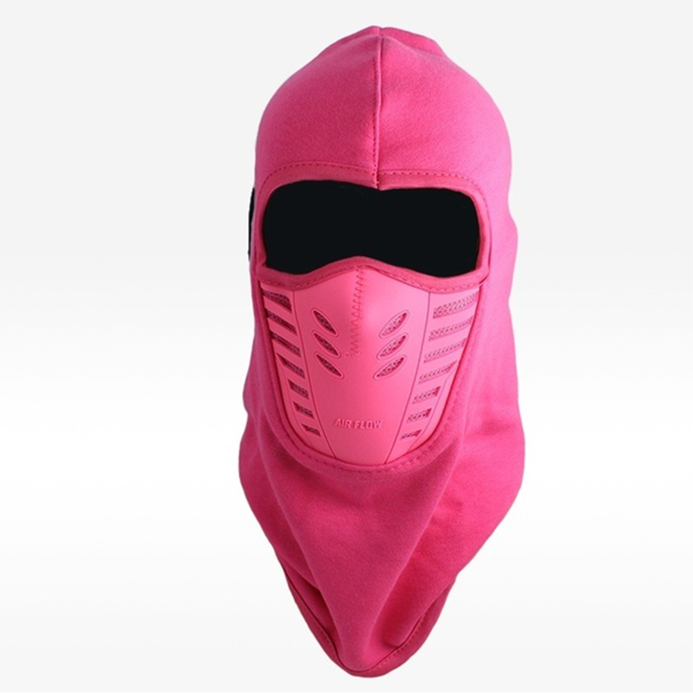 Unisex Bicycle Thermal Winter Warm Hat Windproof Motorcycle Face Mask Hat Neck Helmet Beanies Rose red_One size