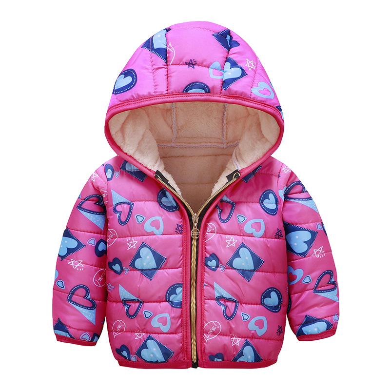 Children Down Overcoat Baby Girls Boys Hood Winter Children Jacket Outerwear rose red love_110cm