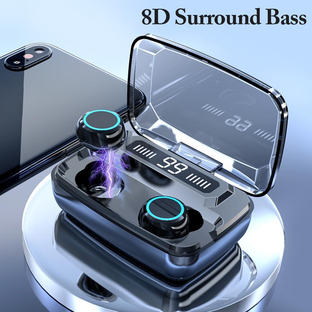 M11 TWS Wireless Earphones LED Digital Display Touch Control Bluetooth 5.0 IPX7 Waterproof Mini Headset with 3300mAh Charging Base M11