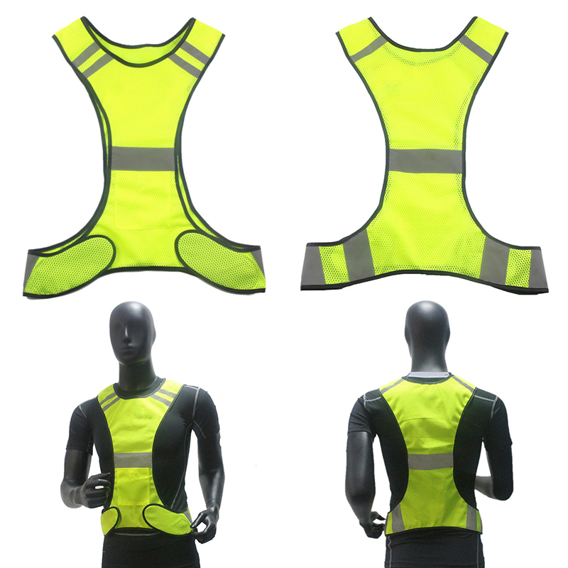 Outdoor Sports Vest High Visibility Security Gear Stripes Jacket Polyester Mesh Reflective Vest with Pocket for Night Work Cycling Running Fluorescent yellow