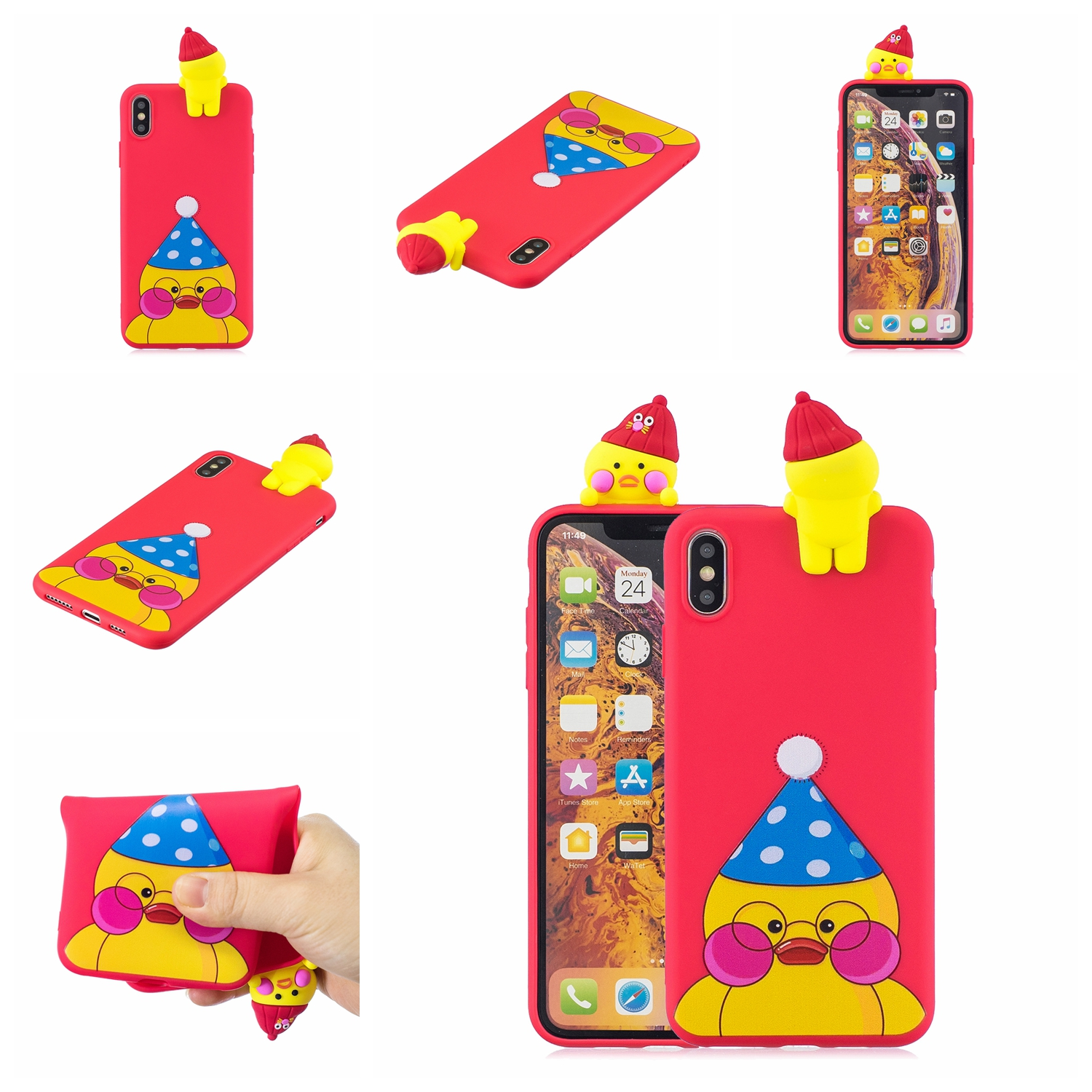 For OPPO A7 3D Cute Coloured Painted Animal TPU Anti-scratch Non-slip Protective Cover Back Case red