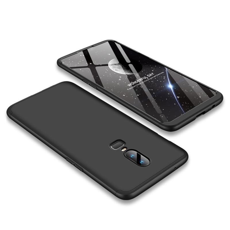 For One Plus 6 Slim 3 in 1 Hybrid Hard Case Full Body 360 Degree Protection Back Cover  black