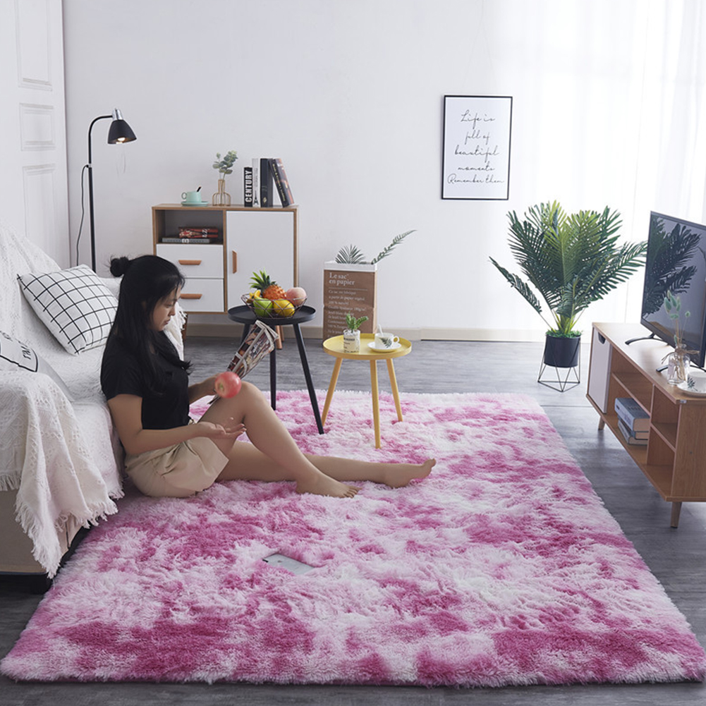 Simple Plush Carpet Bedroom Cute Bedside Blanket Nordic Living Room Sofa Coffee Table Mat Thick Mat Tie dyed pink_50*160 cm
