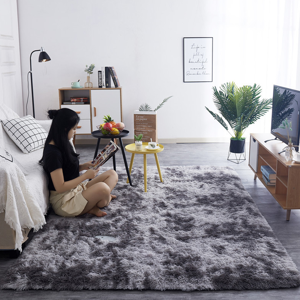 Simple Plush Carpet Bedroom Cute Bedside Blanket Nordic Living Room Sofa Coffee Table Mat Thick Mat Tie-dye dark gray_50*160 cm