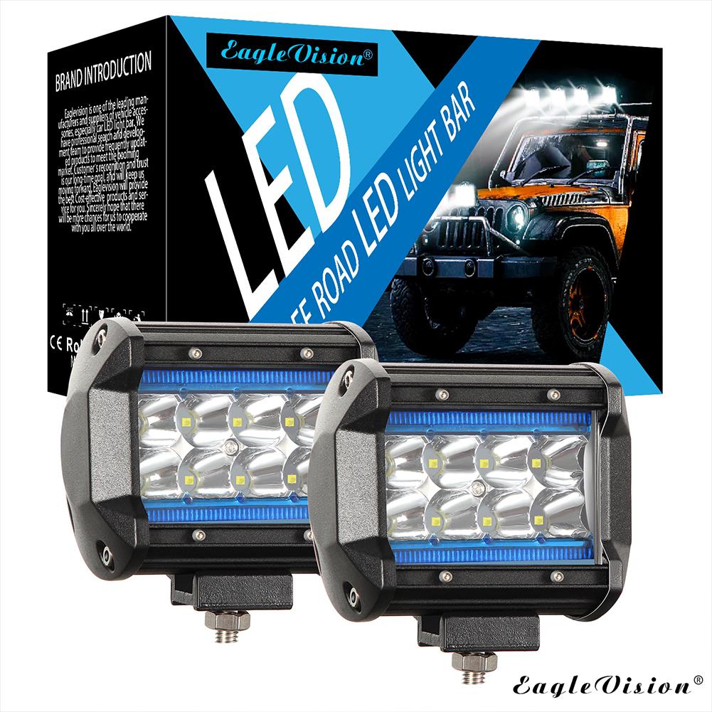 4Inch 120W 12000LM 6000K+8000K LED Light Bar Truck Lights Quad Row Off Road Lights for Jeep ATV UTV SUV Boat Ice blue + white light