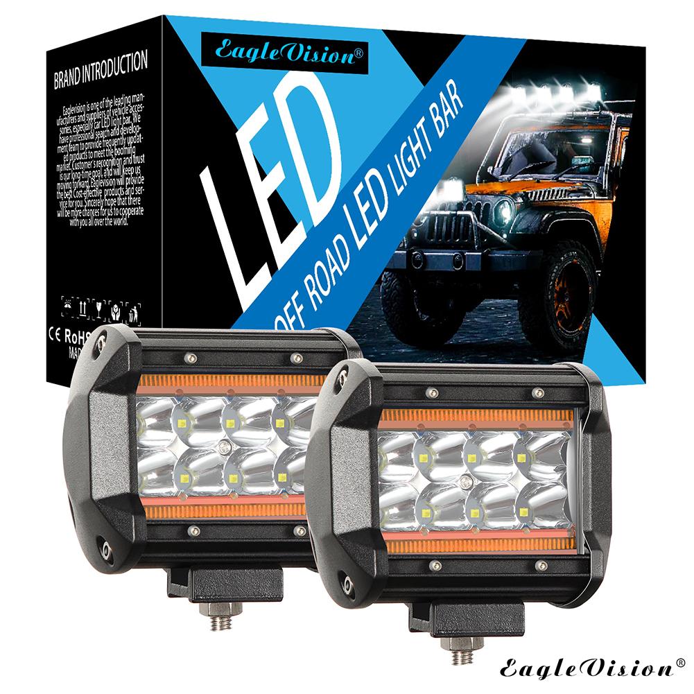 4Inch 120W 12000LM 6000K+8000K LED Light Bar Truck Lights Quad Row Off Road Lights for Jeep ATV UTV SUV Boat Amber light + white light