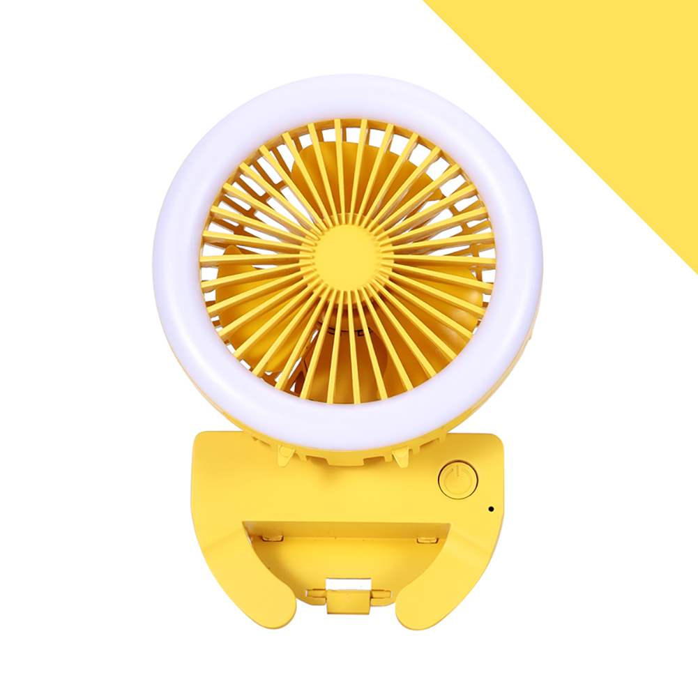 Portable Fan Mobile Phone Selfie Beauty Fill Light Fan with 3 Modes Speed Adjustable yellow_9.5cm * 9