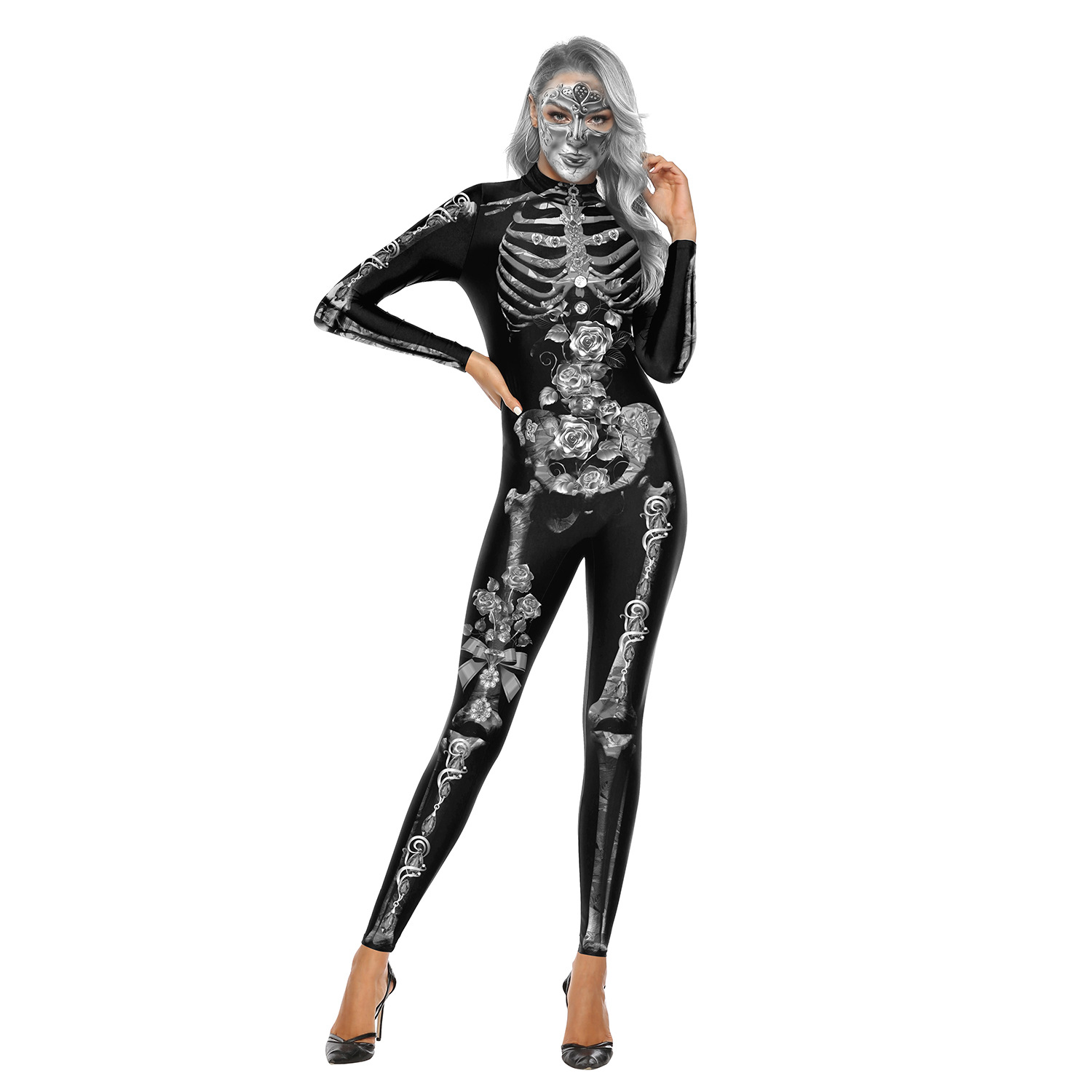 Female Skeleton Printing Jumpsuits Scary Cosplaying for Halloween Festival  WB142-002_S