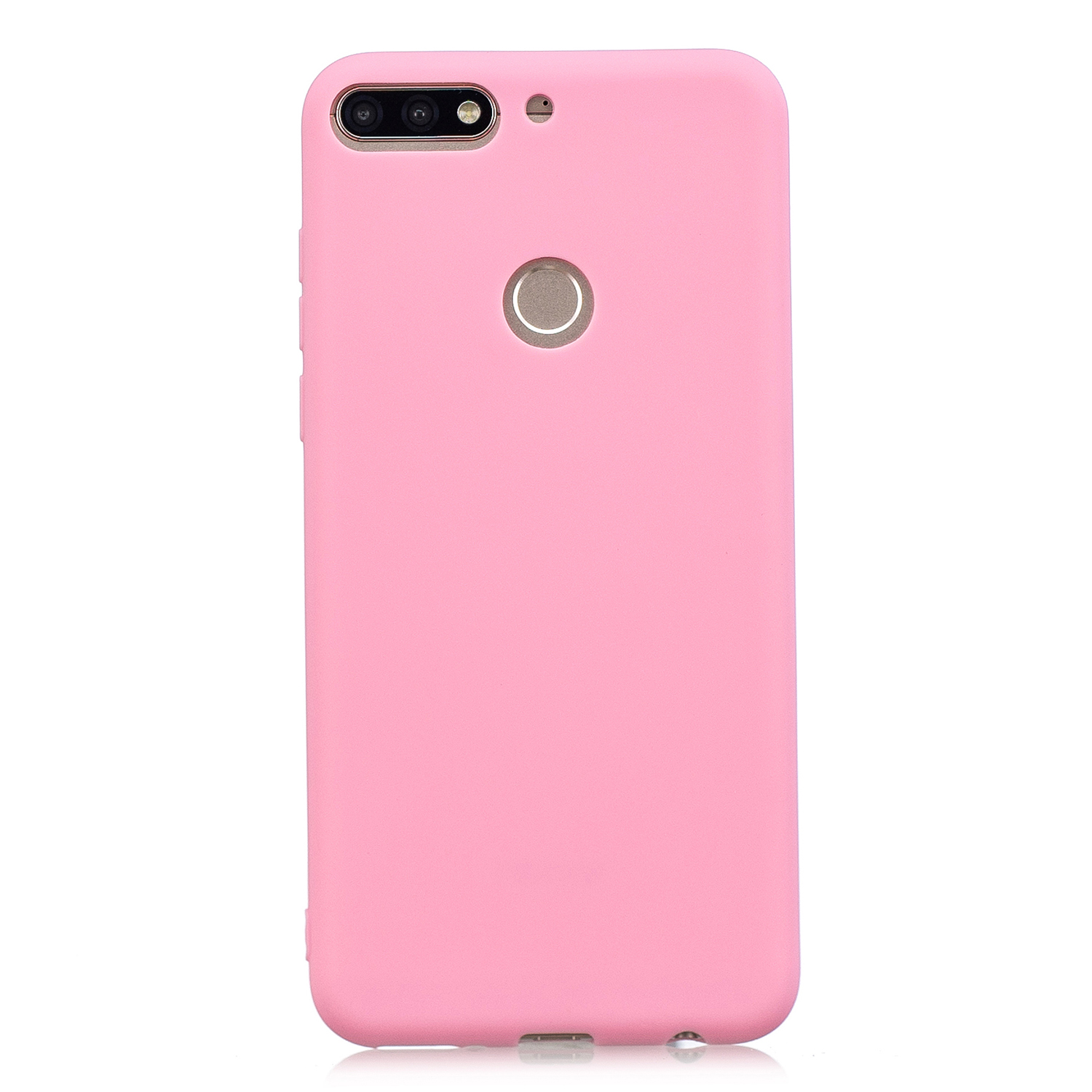 for HUAWEI Y9 2018 Lovely Candy Color Matte TPU Anti-scratch Non-slip Protective Cover Back Case dark pink