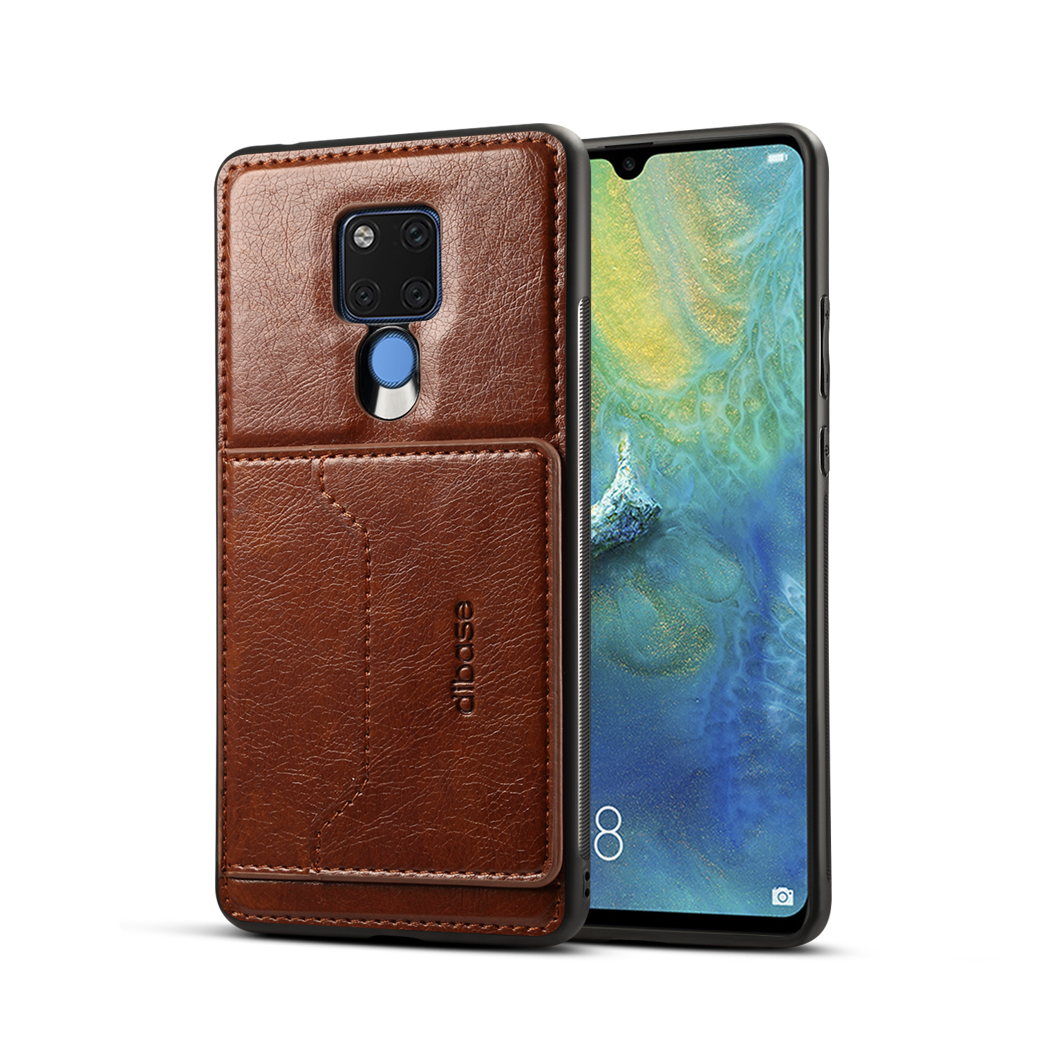 For HUAWEI MATE 20X 2 in 1 Retro PU Leather Wallet Stand Non-slip Shockproof Cell Phone Case coffee
