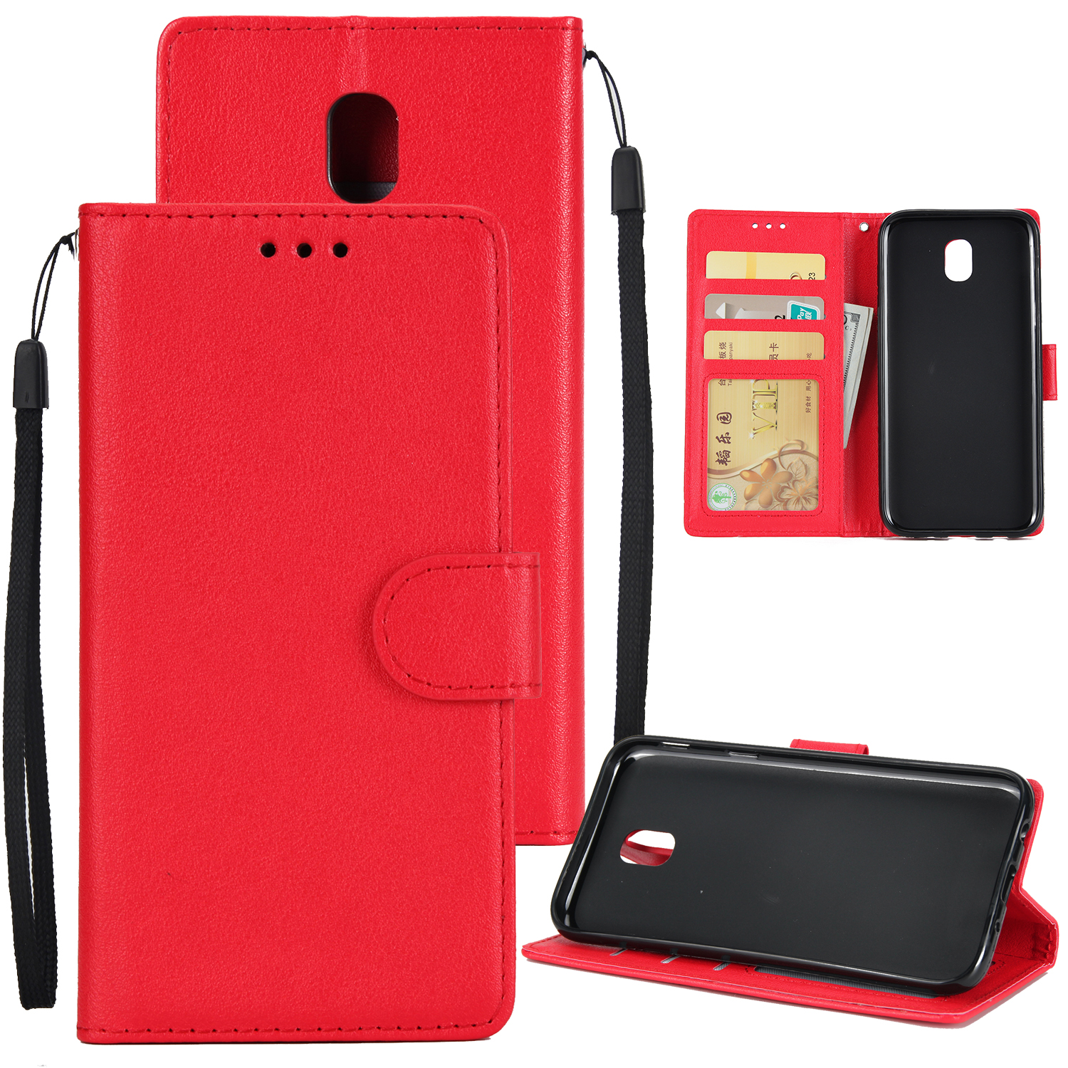 For Samsung J7 PLUS/J7+ Full Protective Clip Case Cover PU Stylish Shell with Card Slot red
