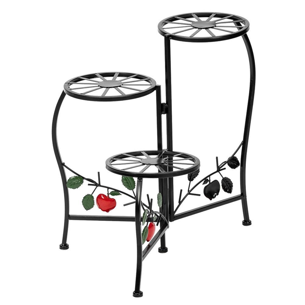 [US Direct] Metal Plant  Stand Shelf 3-base Flower Pot Holder Organizing Racks For Household black