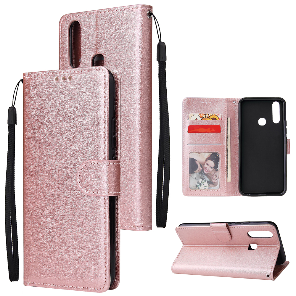For VIVO Y17 Cellphone Cover PU Leather Shell All-round Protection Mobile Phone Case Precise Cutout Wallet Design Stand Function Rose gold