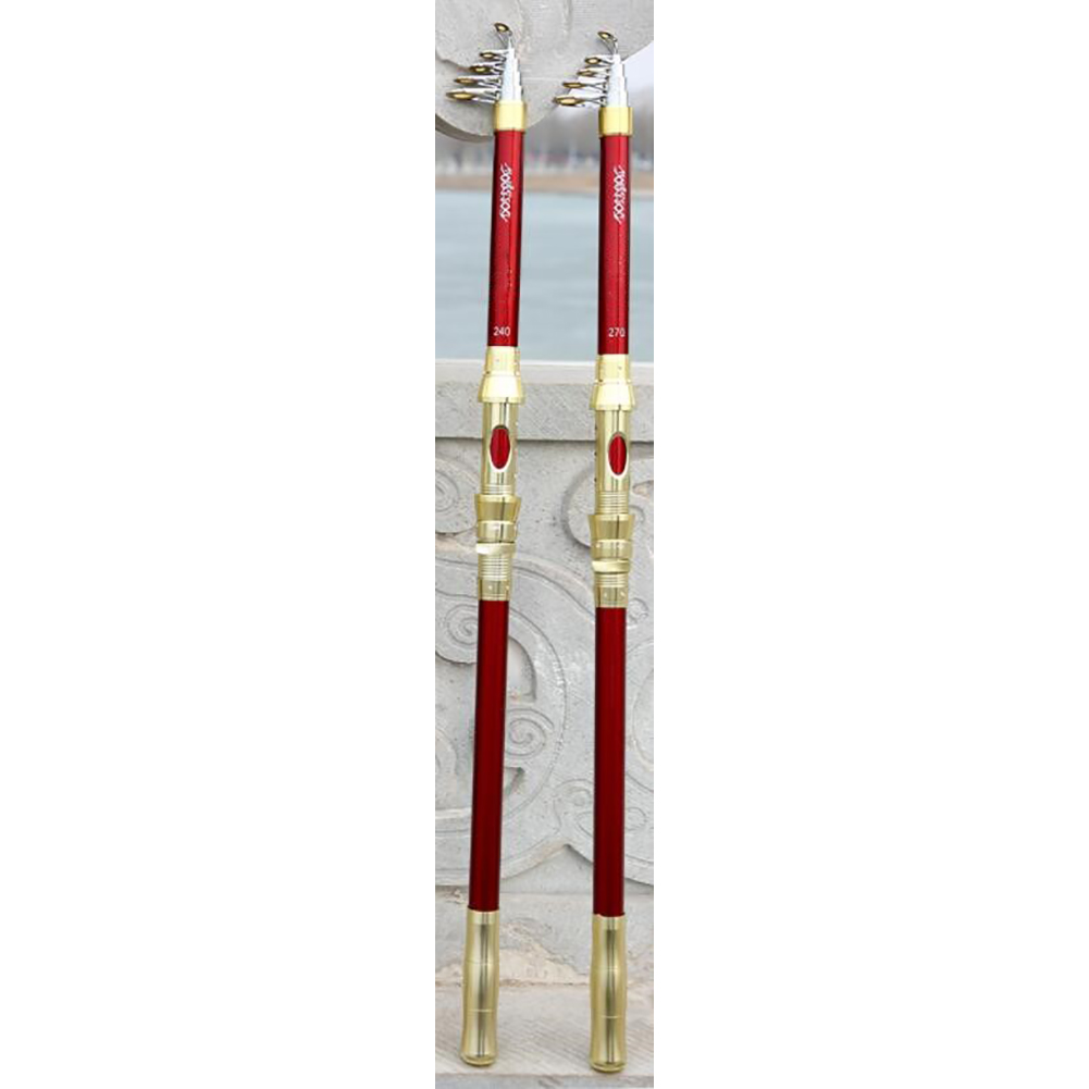 2.1/2.4/2.7/3.0/3.6m Super Hard Telescopic Fishing Rod Carbon Spinning Pole Sea Fishing Stick Metal Ring Red with ground