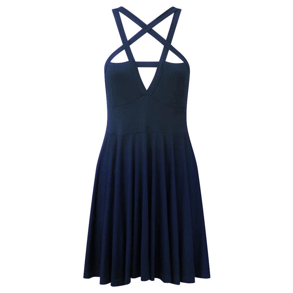 Women Sexy Front Hollow Five Point Star Strapless Dress Halloween Costume Dark blue_S